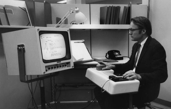 Lead engineer Bill English using NLS (~1968)