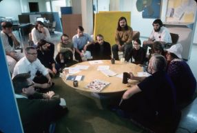 Doug in team meeting (1969)